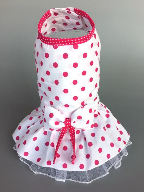 Obleček- šaty pro psa s mašlí a obojkem 16fab1276e